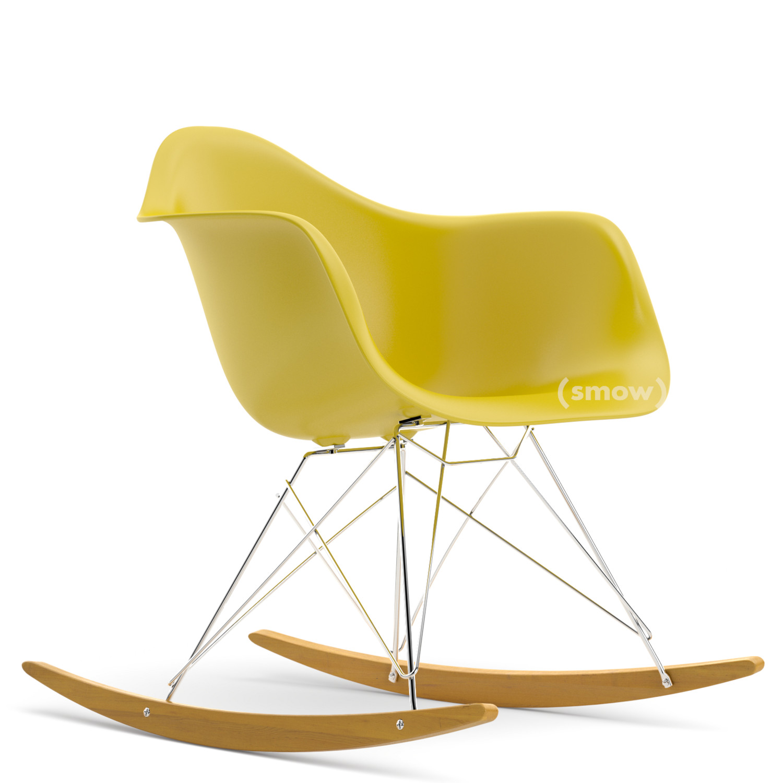 Eames plastic rocking chair - Eames Plastic Armchair Rar Mustard Chrome Plated Yellowish Maple