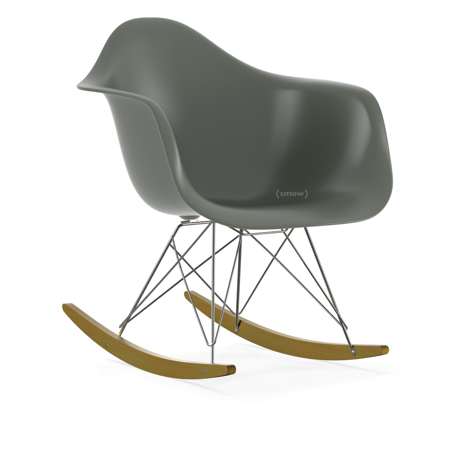 Elegant Eames Plastic Armchair RAR Basalt Grey|Chrome Plated|Yellowish Maple