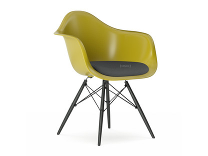 vitra eames plastic armchair daw mustard with seat upholstery