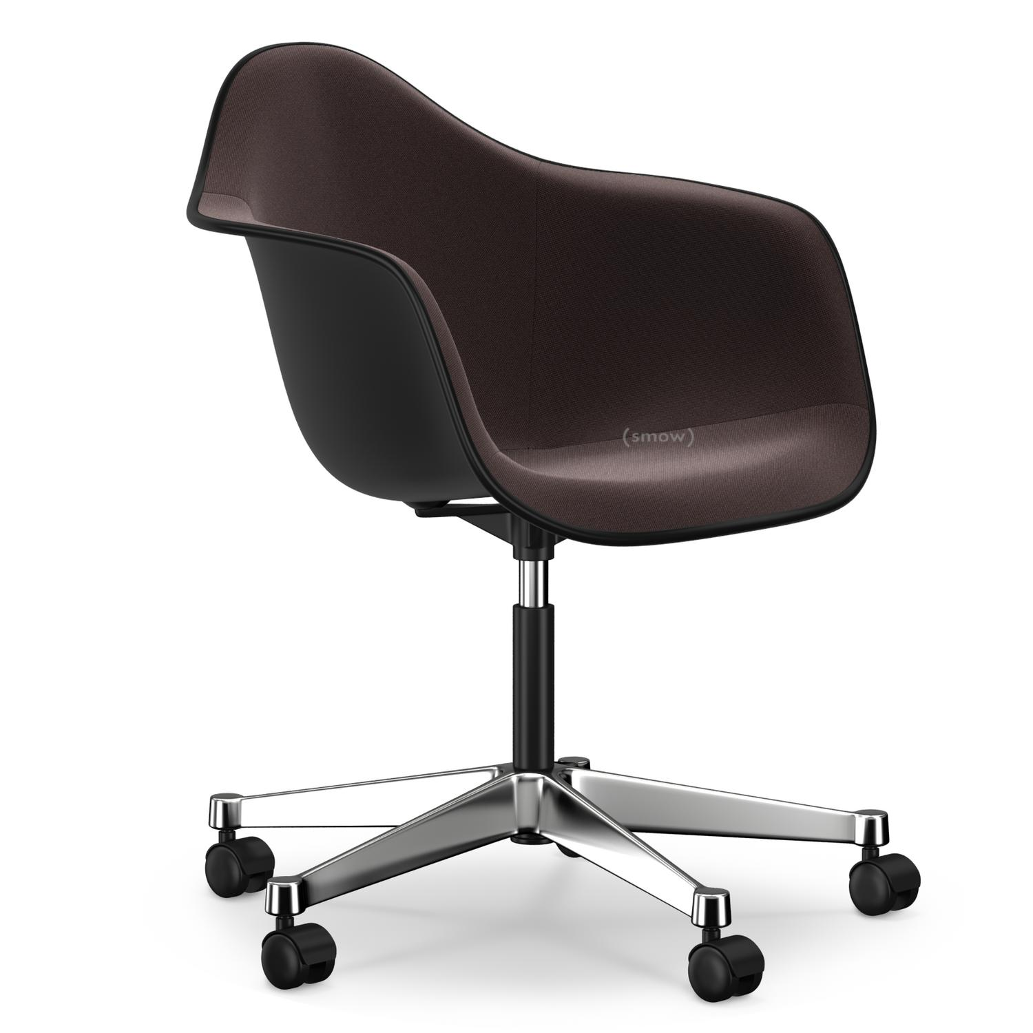 vitra eames plastic armchair pacc basic dark with full upholstery nero moor brown by. Black Bedroom Furniture Sets. Home Design Ideas