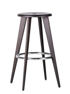 Tabouret Haut Black oak, chrome foot rests