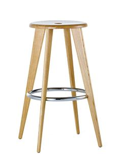 Tabouret Haut Natural oak, chrome foot rests