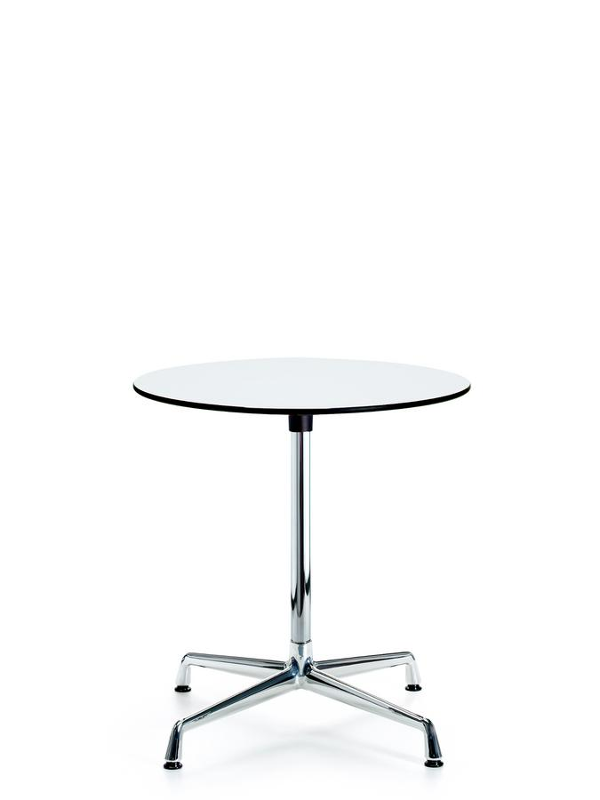 Contract Table Ø 70 Cm Hpl White With Black Plastic Edges Base And Supporting