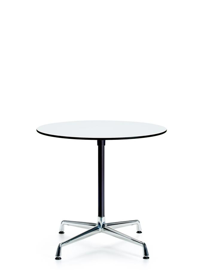 Contract Table Ø 80 Cm Solid Core Material White Base Chrome Supporting Leg