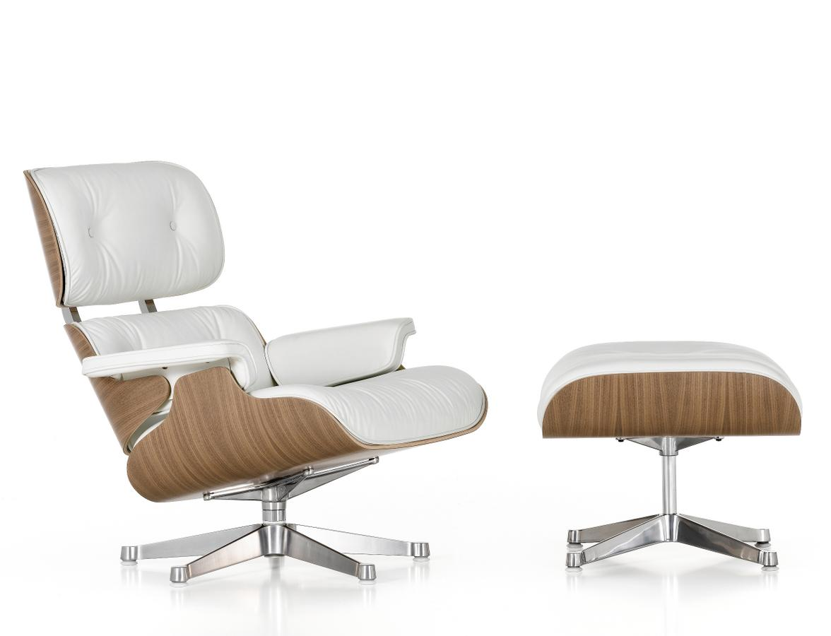 vitra lounge chair white ottoman by charles ray eames. Black Bedroom Furniture Sets. Home Design Ideas