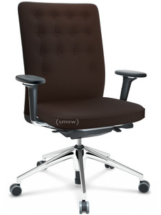 ID Trim Without lumbar support|FlowMotion-with tilt mechanism, with seat depth adjustment|With 3D-armrests|5 star foot, polished aluminium|Seat and back Plano|Brown