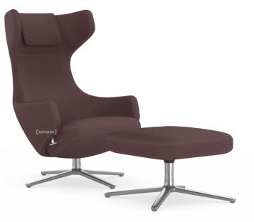 vitra grand repos chair grand repos ottoman fabric cosy aubergine 41 cm polished by. Black Bedroom Furniture Sets. Home Design Ideas