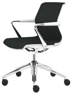 Unix Chair with Five Star Base Diamond Mesh asphalt|Soft grey