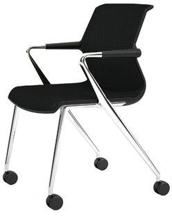 Unix Chair with Four-legged Base on Castors Diamond Mesh nero|Basic dark|Aluminium polished