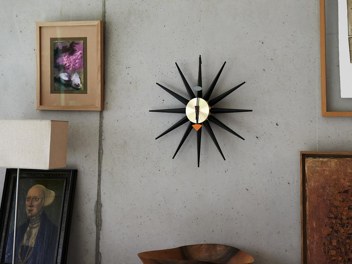 vitra sunburst clock black by george nelson 1949 designer furniture by. Black Bedroom Furniture Sets. Home Design Ideas