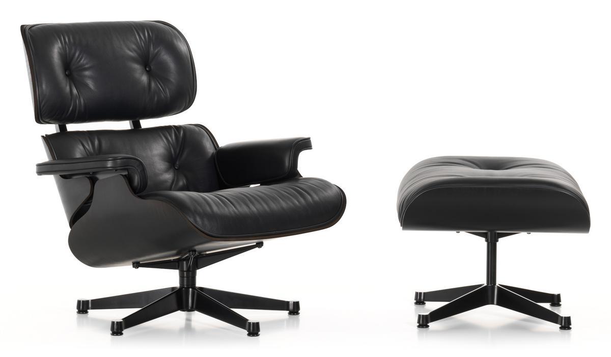 Vitra Lounge Chair Ottoman Black