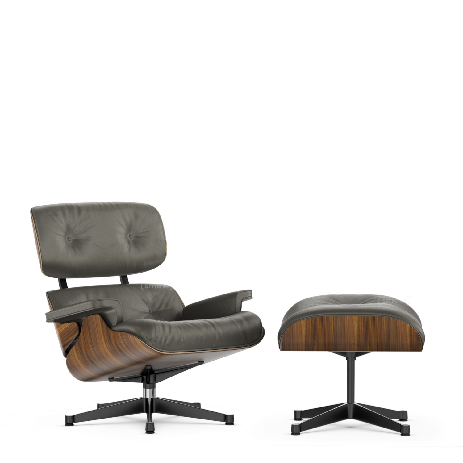 Vitra Lounge Chair Ottoman Beauty Versions Walnut With Black