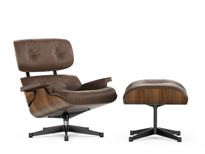 Lounge Chair & Ottoman - Beauty Versions Walnut with black pigmentation|Marron|89 cm|Aluminium polished, sides black