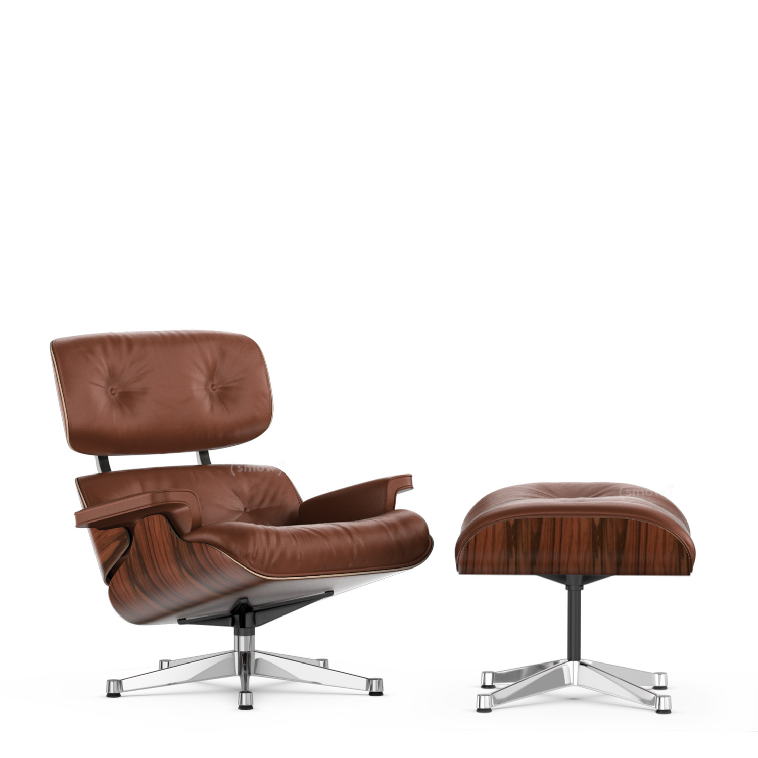 Eames Lounge Chair.Vitra Lounge Chair Ottoman Beauty Versions Santos Palisander Brandy 89 Cm Aluminium Chrome Plated