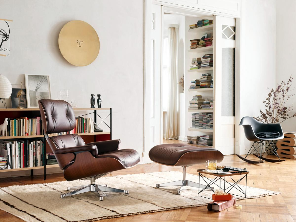 Vitra Lounge Chair Ottoman Beauty Versions Walnut with black