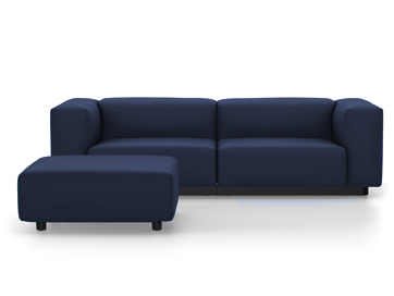 Soft Modular Sofa Laser Dark Blue|With Ottoman