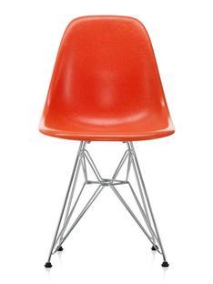 Eames Fiberglass Chair DSR Eames red orange|Polished chrome